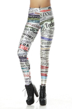 Leggings donna con Lettere in Polyester in Spandex Close-fitting