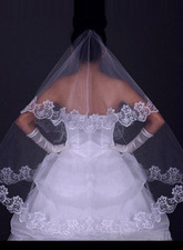 Waltz Velo da Sposa Tulle Ricamo Bordo in Pizzo Applique Uno