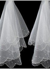 Polpastrello Velo da Sposa Matita Bordo Tulle All'Aperto Perline