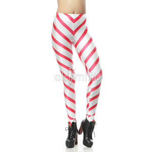 grande immagine 1 Leggings donna Tessuto Spandex Close-fitting Striscia Vintage