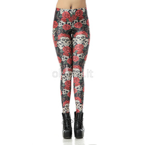 grande immagine 2 Leggings fiore stampata in Polyester Tessuto Spandex Nipped Waists