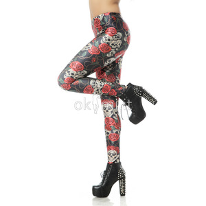 grande immagine 3 Leggings fiore stampata in Polyester Tessuto Spandex Nipped Waists