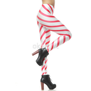 grande immagine 4 Leggings donna Tessuto Spandex Close-fitting Striscia Vintage